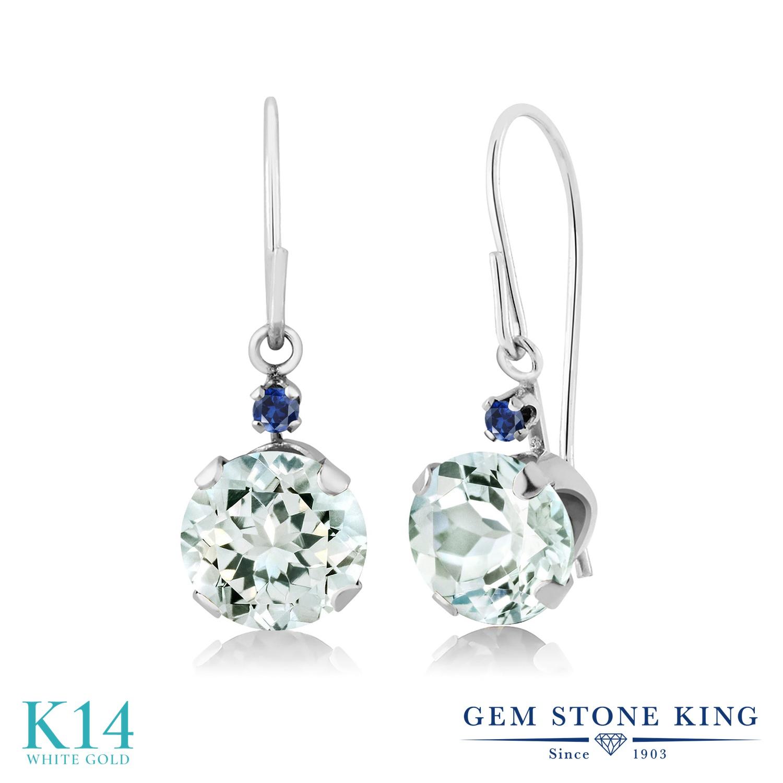 Gem Stone King 1.53カラット 天然 アクアマリン シミュレイテッド サファイア 14金 ホワイトゴールド(K14) ピアス レディース ぶら下がり アメリカン 揺れる 天然石 3月 誕生石 金属アレルギー対応 誕生日プレゼント