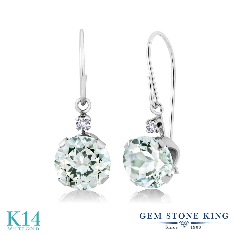 Gem Stone King 1.53カラット 天然 アクアマリン 合成ホワイトサファイア (ダイヤのような無色透明) 14金 ホワイトゴールド(K14) ピアス レディース ぶら下がり アメリカン 揺れる 天然石 3月 誕生石 金属アレルギー対応 誕生日プレゼント