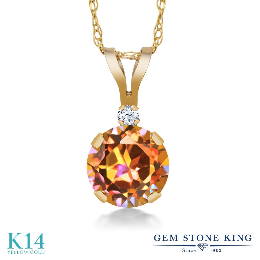 Gem Stone King 1.02カラット 天然石 エクスタシーミスティックトパーズ 合成ホワイトサファイア (ダイヤのような無色透明) 14金 イエローゴールド(K14) ネックレス ペンダント レディース 大粒 シンプル 天然石 金属アレルギー対応 誕生日プレゼント