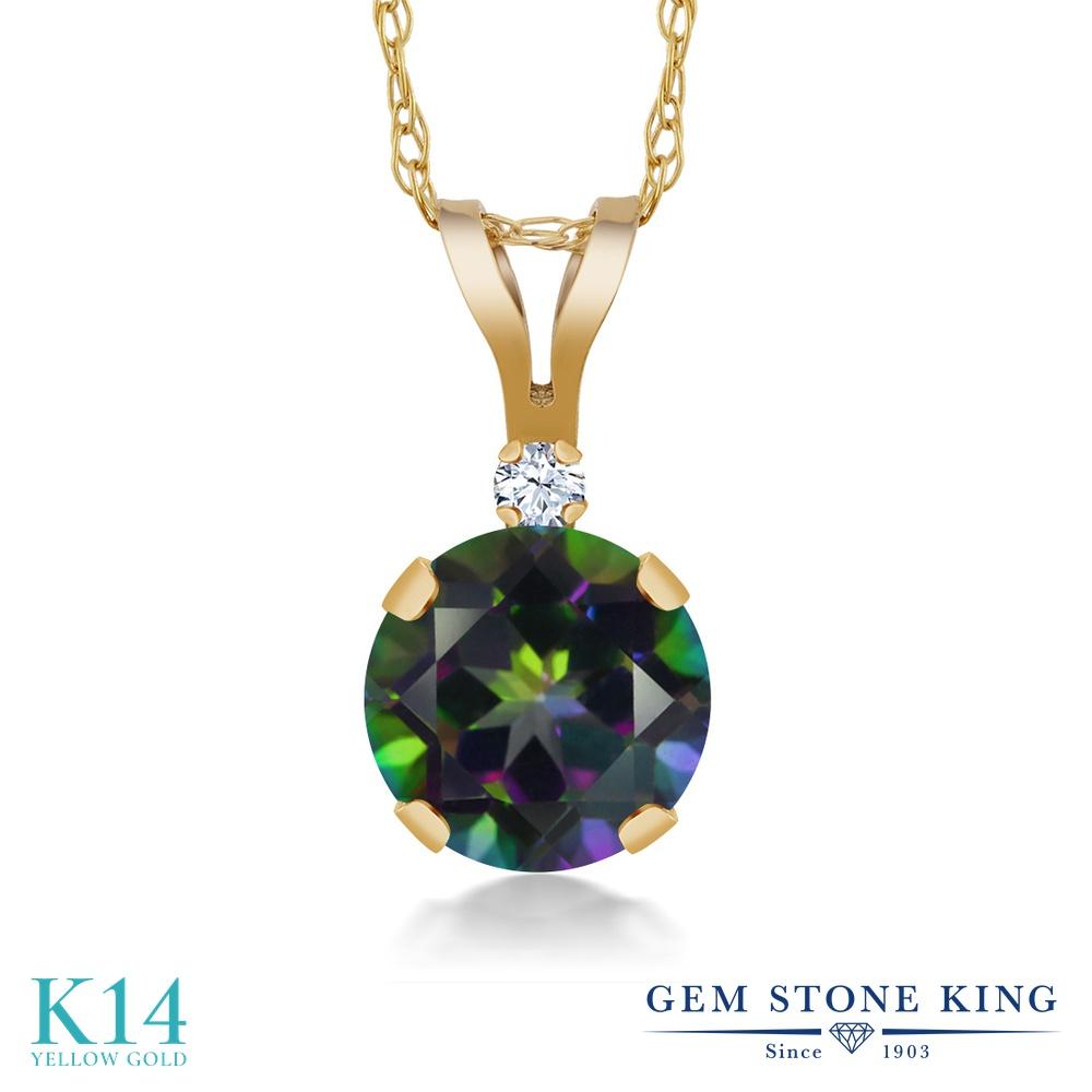 Gem Stone King 1.02カラット 天然石 ミスティックトパーズ (グリーン) 合成ホワイトサファイア (ダイヤのような無色透明) 14金 イエローゴールド(K14) ネックレス ペンダント レディース 大粒 シンプル 天然石 金属アレルギー対応 誕生日プレゼント