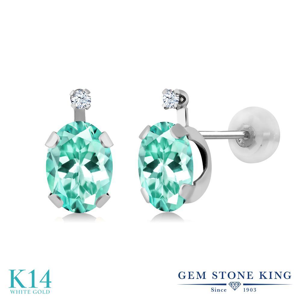 Gem Stone King 1.66カラット 合成ホワイトサファイア (ダイヤのような無色透明) 14金 ホワイトゴールド(K14) ピアス レディース スタッド 天然石 金属アレルギー対応 誕生日プレゼント