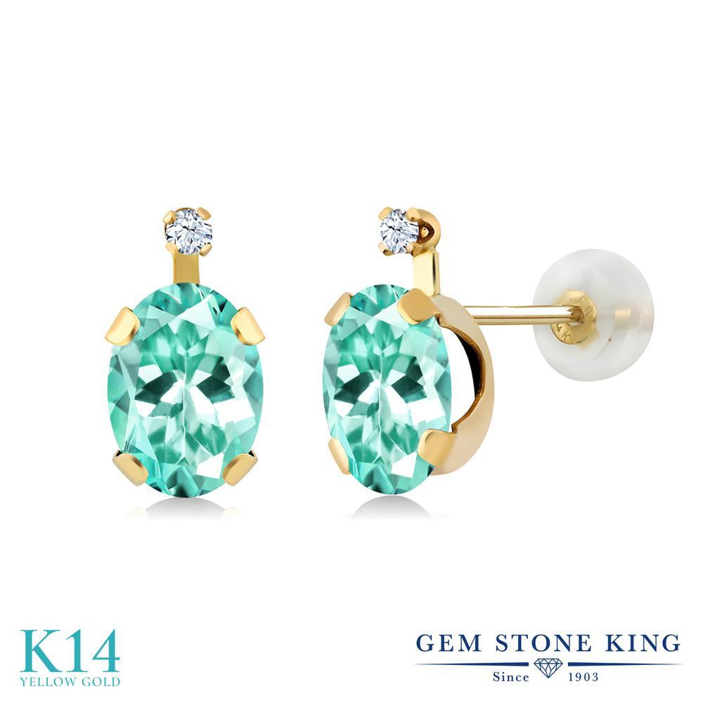 Gem Stone King 1.66カラット 合成ホワイトサファイア (ダイヤのような無色透明) 14金 イエローゴールド(K14) ピアス レディース スタッド 天然石 金属アレルギー対応 誕生日プレゼント