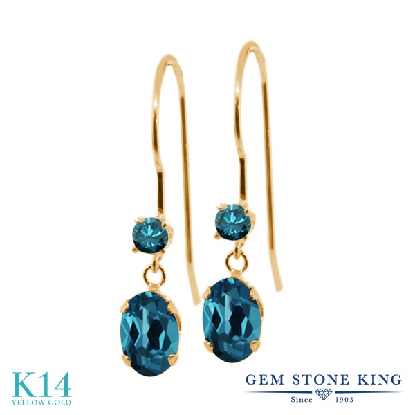 Gem Stone King 1.23カラット 天然 ロンドンブルートパーズ 天然 ブルーダイヤモンド 14金 イエローゴールド(K14) ピアス レディース ぶら下がり アメリカン 揺れる 天然石 11月 誕生石 金属アレルギー対応 誕生日プレゼント