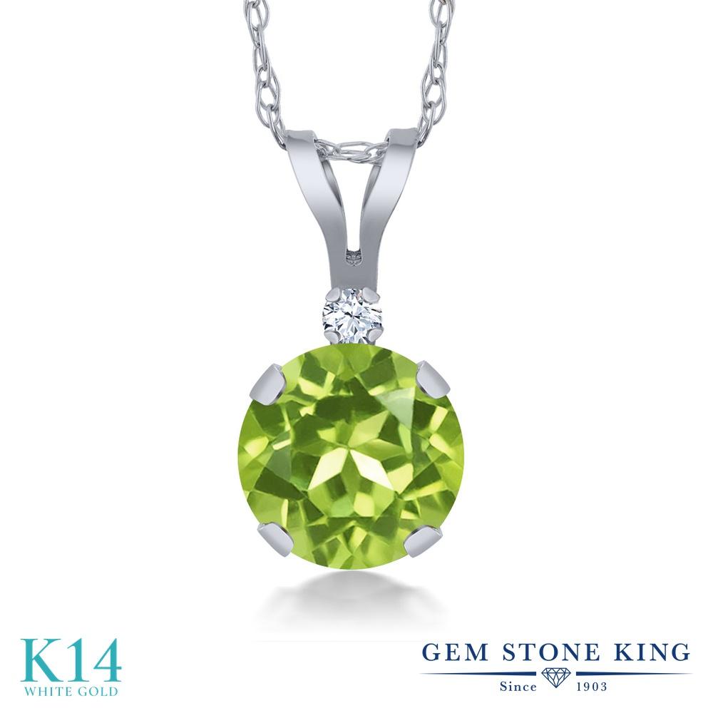 Gem Stone King 0.87カラット 天然石 ペリドット 合成ホワイトサファイア (ダイヤのような無色透明) 14金 ホワイトゴールド(K14) ネックレス ペンダント レディース シンプル 天然石 8月 誕生石 金属アレルギー対応 誕生日プレゼント
