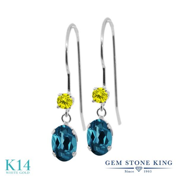 Gem Stone King 1.23カラット 天然 ロンドンブルートパーズ 天然 イエローダイヤモンド 14金 ホワイトゴールド(K14) ピアス レディース ぶら下がり アメリカン 揺れる 天然石 11月 誕生石 金属アレルギー対応 誕生日プレゼント
