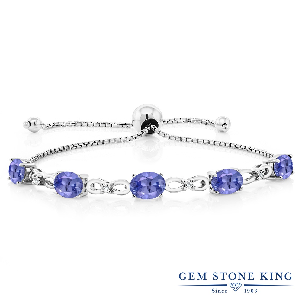 Gem Stone King 3.75カラット 天然石 タンザナイト 天然 ダイヤモンド シルバー925 ブレスレット テニスブレスレット レディース 天然石 12月 誕生石 金属アレルギー対応 誕生日プレゼント