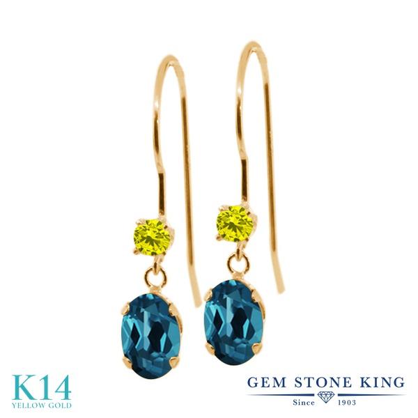 Gem Stone King 1.23カラット 天然 ロンドンブルートパーズ 天然 イエローダイヤモンド 14金 イエローゴールド(K14) ピアス レディース ぶら下がり アメリカン 揺れる 天然石 11月 誕生石 金属アレルギー対応 誕生日プレゼント