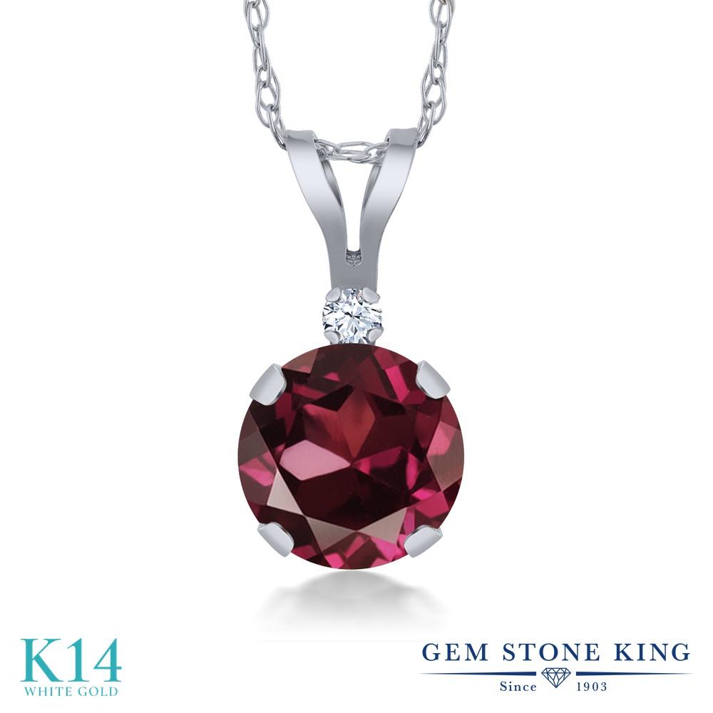 Gem Stone King 1.02カラット 天然 ロードライトガーネット 合成ホワイトサファイア (ダイヤのような無色透明) 14金 ホワイトゴールド(K14) ネックレス ペンダント レディース 大粒 シンプル 天然石 金属アレルギー対応 誕生日プレゼント