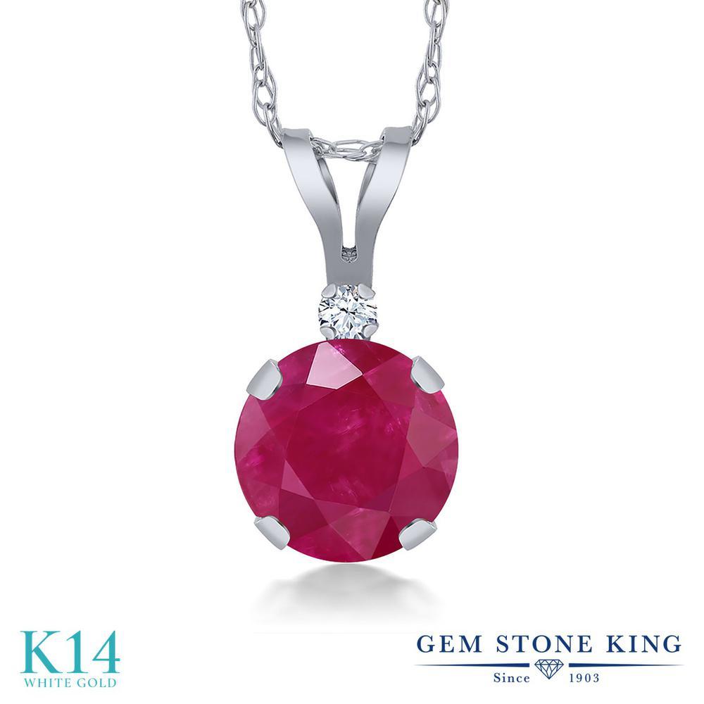 Gem Stone King 1.02カラット 天然 ルビー 合成ホワイトサファイア (ダイヤのような無色透明) 14金 ホワイトゴールド(K14) ネックレス ペンダント レディース 大粒 シンプル 天然石 7月 誕生石 金属アレルギー対応 誕生日プレゼント