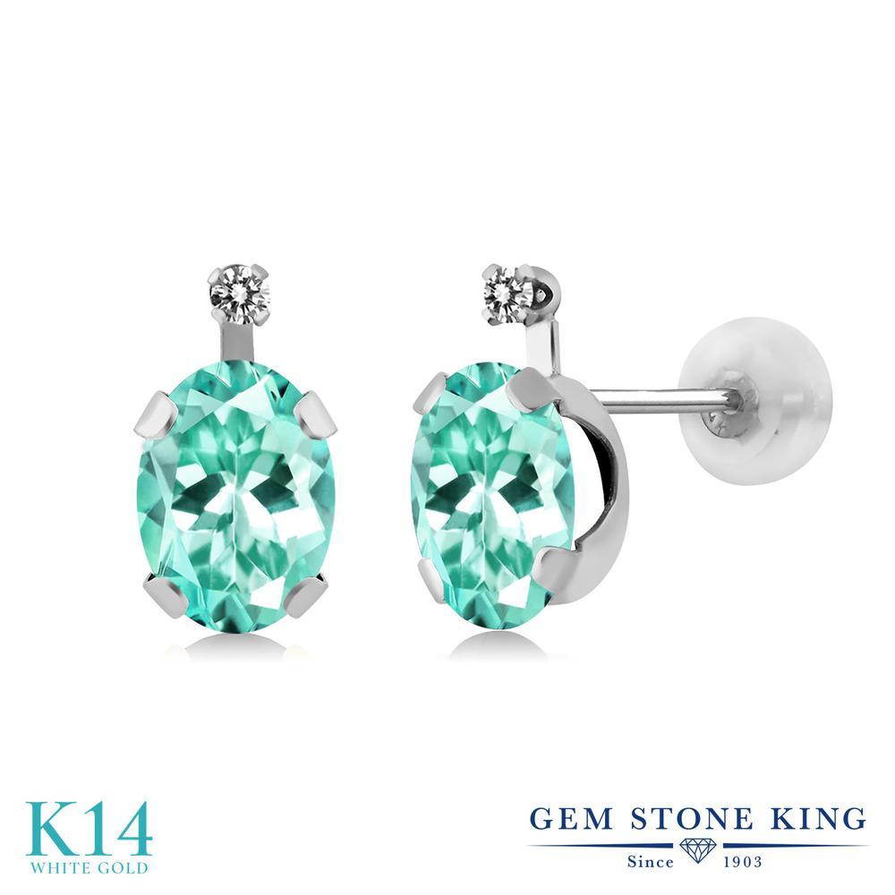 Gem Stone King 1.65カラット 天然 ダイヤモンド 14金 ホワイトゴールド(K14) ピアス レディース スタッド 天然石 金属アレルギー対応 誕生日プレゼント