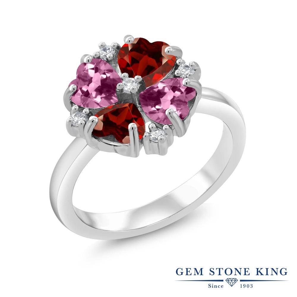Gem Stone King 2.06カラット 天然 ガーネット 天然 ピンクトルマリン シルバー925 指輪 リング レディース カクテル 天然石 1月 誕生石 金属アレルギー対応 誕生日プレゼント