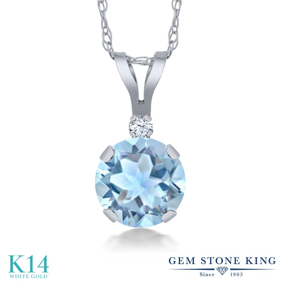 Gem Stone King 0.92カラット 天然 スカイブルートパーズ 合成ホワイトサファイア (ダイヤのような無色透明) 14金 ホワイトゴールド(K14) ネックレス ペンダント レディース シンプル 天然石 11月 誕生石 金属アレルギー対応 誕生日プレゼント