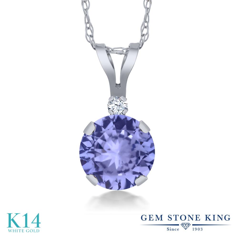Gem Stone King 0.92カラット 天然石 タンザナイト 合成ホワイトサファイア (ダイヤのような無色透明) 14金 ホワイトゴールド(K14) ネックレス ペンダント レディース シンプル 天然石 12月 誕生石 金属アレルギー対応 誕生日プレゼント