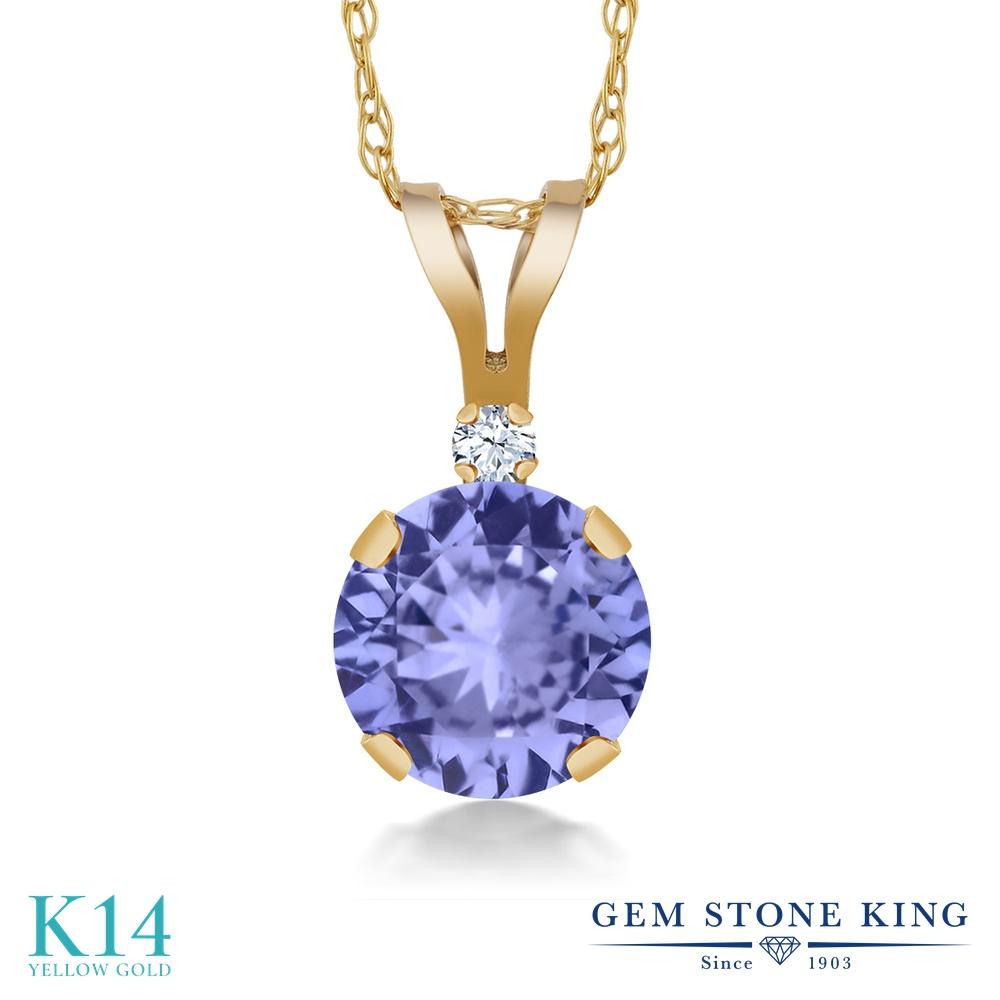 Gem Stone King 0.92カラット 天然石 タンザナイト 合成ホワイトサファイア (ダイヤのような無色透明) 14金 イエローゴールド(K14) ネックレス ペンダント レディース シンプル 天然石 12月 誕生石 金属アレルギー対応 誕生日プレゼント