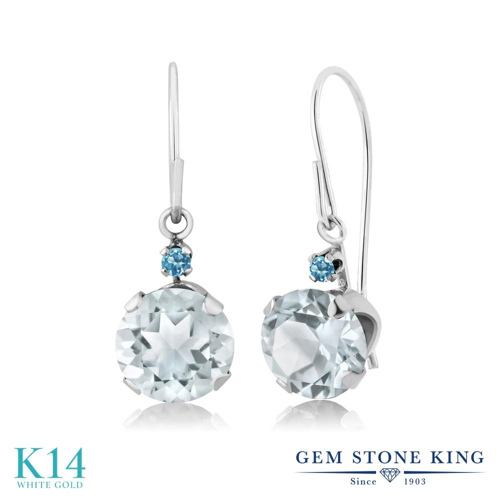 Gem Stone King 1.54カラット 天然 アクアマリン シミュレイテッド スカイブルートパーズ 14金 ホワイトゴールド(K14) ピアス レディース ぶら下がり アメリカン 揺れる 天然石 3月 誕生石 金属アレルギー対応 誕生日プレゼント
