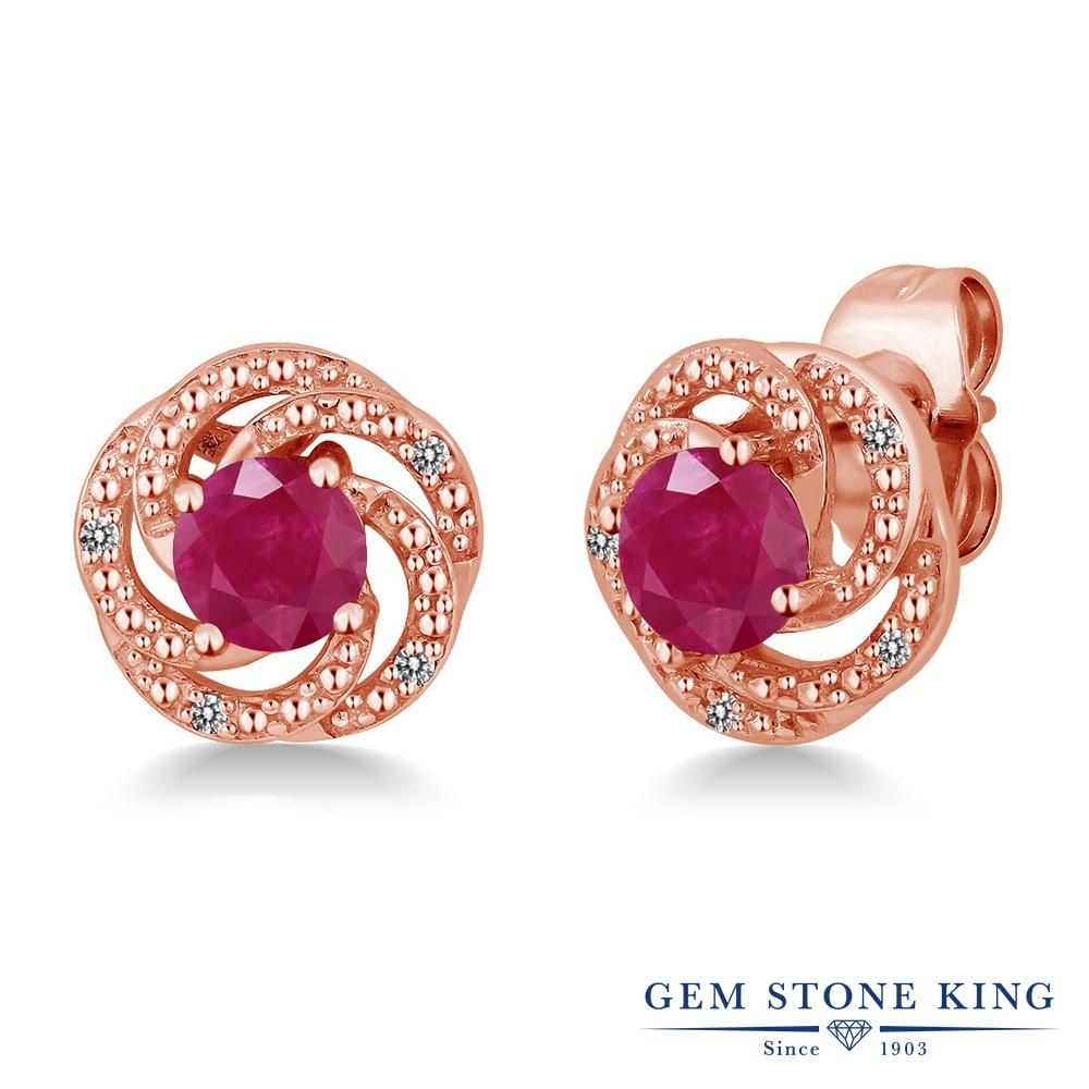 Gem Stone King 1.16カラット 天然 ルビー 天然 ダイヤモンド シルバー925 ピンクゴールドコーティング ピアス レディース スタッド 天然石 7月 誕生石 金属アレルギー対応 誕生日プレゼント