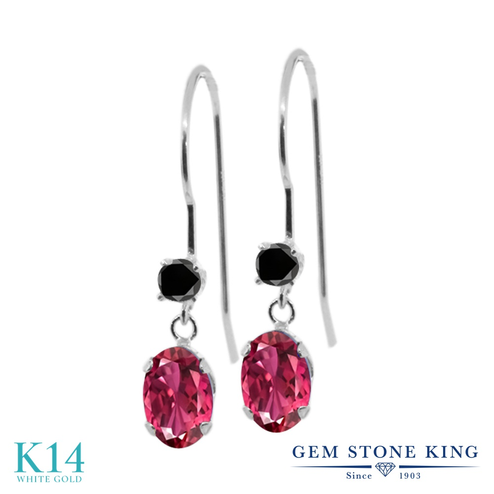 Gem Stone King 1.13カラット 天然 ピンクトルマリン 天然ブラックダイヤモンド 14金 ホワイトゴールド(K14) ピアス レディース 小粒 ぶら下がり アメリカン 揺れる 天然石 10月 誕生石 金属アレルギー対応 誕生日プレゼント