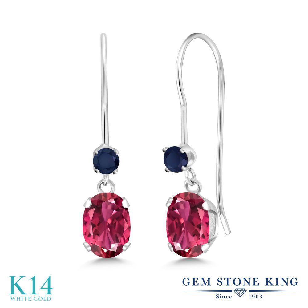 Gem Stone King 1.16カラット 天然トルマリン(ピンク) 天然サファイア 14金 ホワイトゴールド(K14) ピアス レディース 小粒 ぶら下がり アメリカン フック 天然石 誕生石 金属アレルギー対応 誕生日プレゼント
