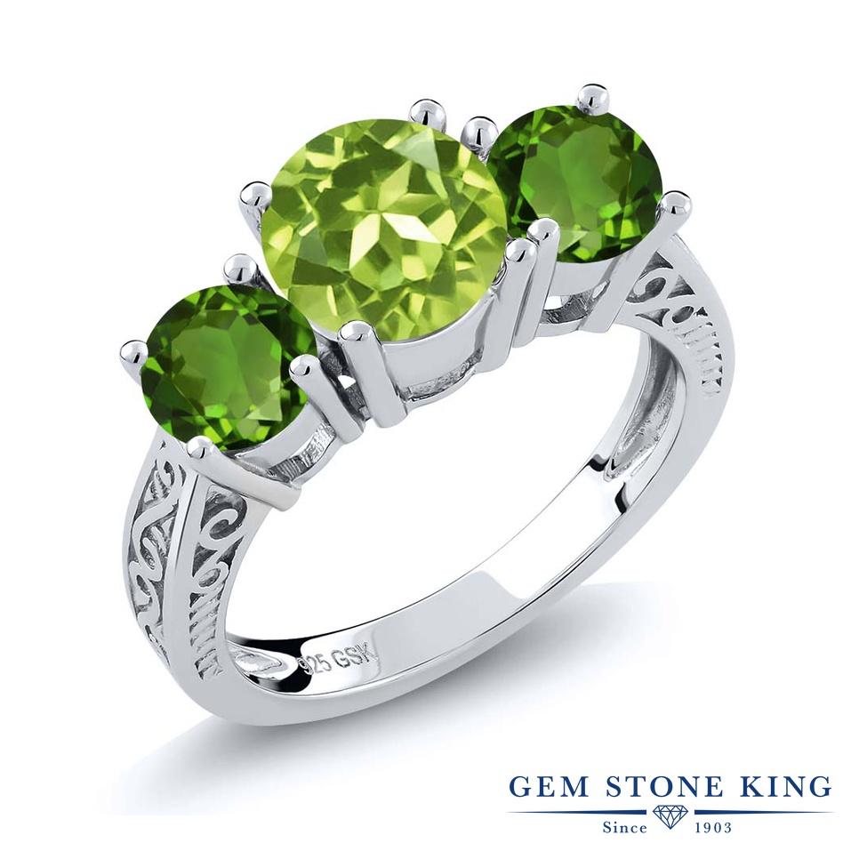 Gem Stone King 2.35カラット 天然石ペリドット 天然クロムダイオプサイド シルバー925 指輪 リング レディース 大粒 スリーストーン シンプル 天然石 誕生石 金属アレルギー対応 誕生日プレゼント