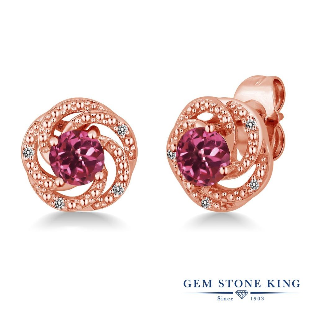 Gem Stone King 1.06カラット 天然 ピンクトルマリン 天然 ダイヤモンド シルバー925 ピンクゴールドコーティング ピアス レディース 小粒 スタッド 天然石 10月 誕生石 金属アレルギー対応 誕生日プレゼント