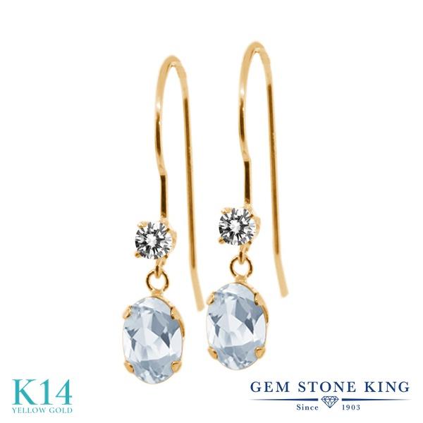 Gem Stone King 1.23カラット 天然 スカイブルートパーズ 天然 ダイヤモンド 14金 イエローゴールド(K14) ピアス レディース ぶら下がり アメリカン 揺れる 天然石 11月 誕生石 金属アレルギー対応 誕生日プレゼント