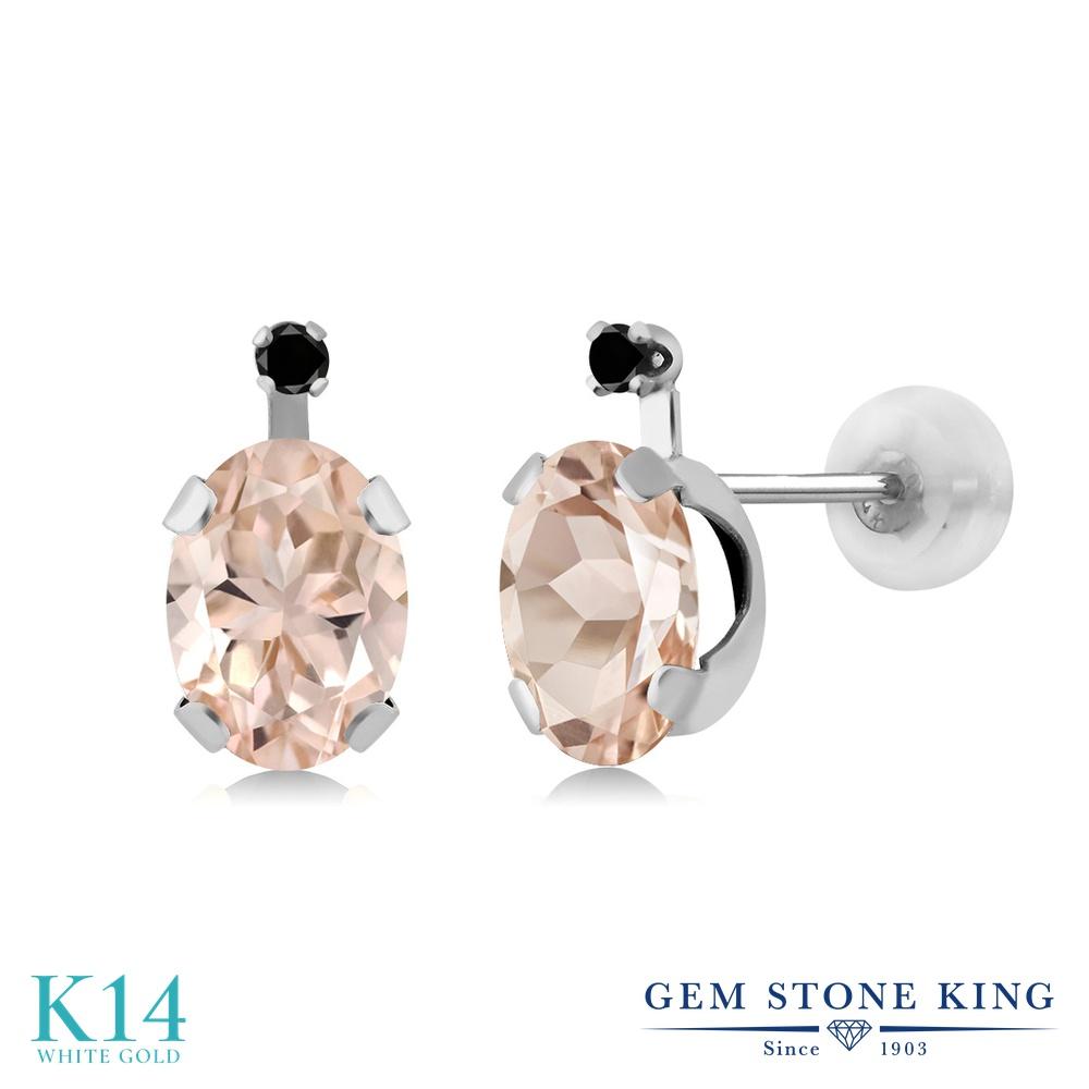 Gem Stone King 1.31カラット 天然 モルガナイト (ピーチ) 天然ブラックダイヤモンド 14金 ホワイトゴールド(K14) ピアス レディース スタッド 天然石 3月 誕生石 金属アレルギー対応 誕生日プレゼント