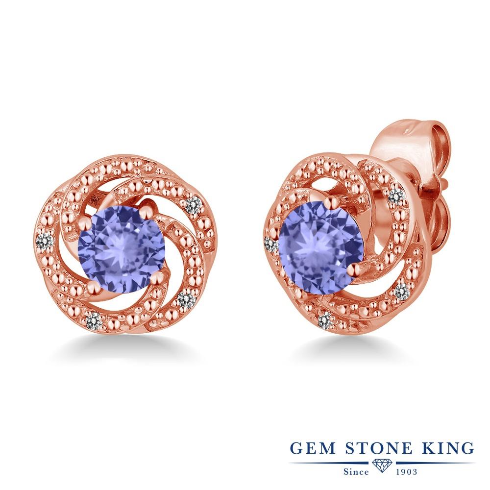 Gem Stone King 0.98カラット 天然石 タンザナイト 天然 ダイヤモンド シルバー925 ピンクゴールドコーティング ピアス レディース 小粒 スタッド 天然石 12月 誕生石 金属アレルギー対応 誕生日プレゼント