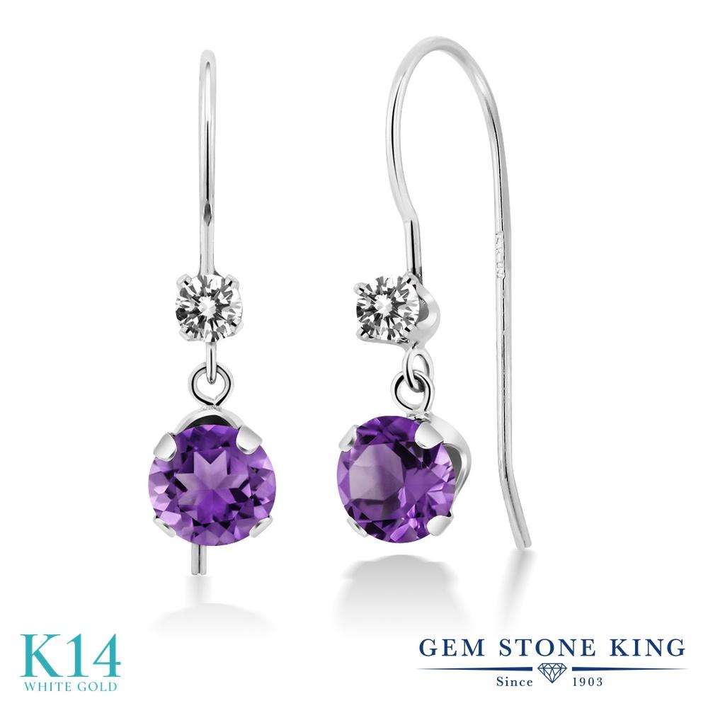 Gem Stone King 1.08カラット 天然 アメジスト 天然 ダイヤモンド 14金 ホワイトゴールド(K14) ピアス レディース 小粒 ぶら下がり アメリカン 揺れる 天然石 2月 誕生石 金属アレルギー対応 誕生日プレゼント
