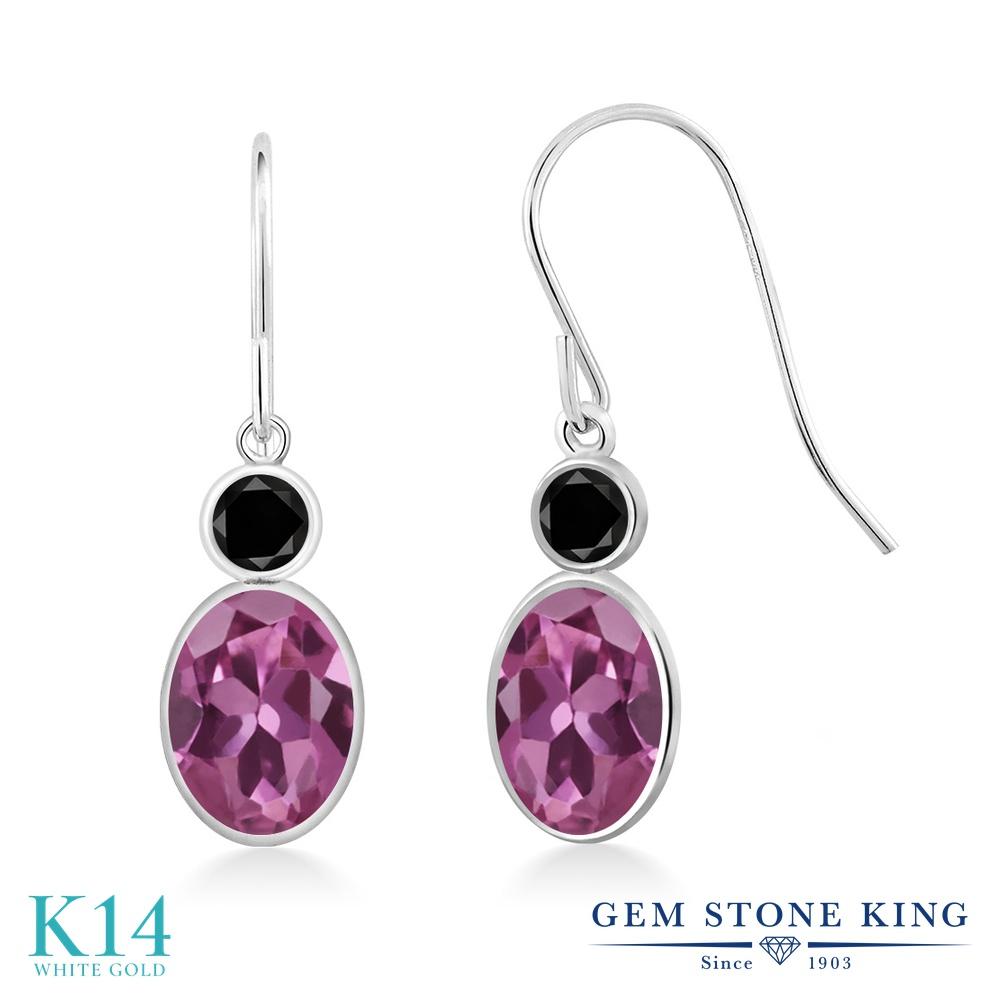 Gem Stone King 1.6カラット AAグレード 天然 ピンクトルマリン 天然ブラックダイヤモンド 14金 ホワイトゴールド(K14) ピアス レディース ぶら下がり フレンチワイヤー 華奢 細身 天然石 金属アレルギー対応 誕生日プレゼント