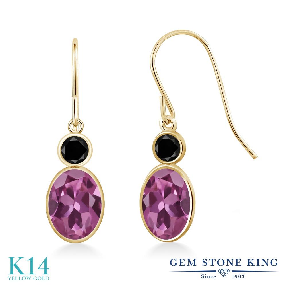 Gem Stone King 1.6カラット AAグレード 天然 ピンクトルマリン 天然ブラックダイヤモンド 14金 イエローゴールド(K14) ピアス レディース ぶら下がり フレンチワイヤー 華奢 細身 天然石 金属アレルギー対応 誕生日プレゼント