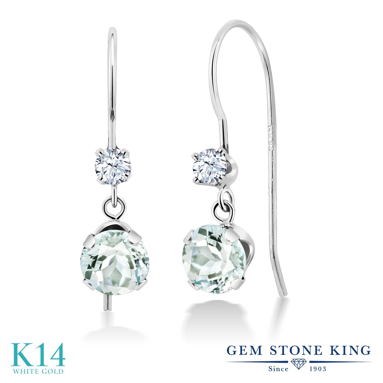 Gem Stone King 1.1カラット 天然 アクアマリン 14金 ホワイトゴールド(K14) ピアス レディース 小粒 ぶら下がり アメリカン 揺れる 天然石 3月 誕生石 金属アレルギー対応 誕生日プレゼント