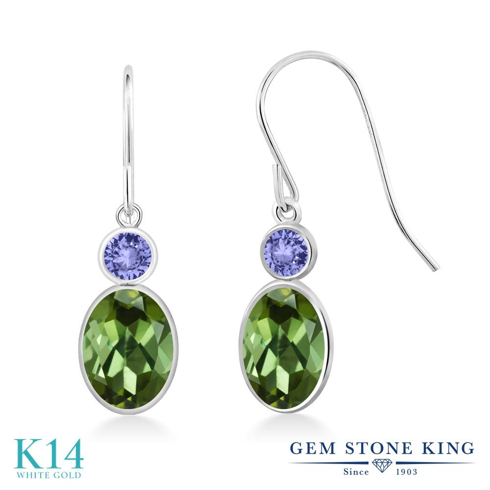Gem Stone King 1.94カラット 天然トルマリン(グリーン) 天然石 タンザナイト 14金 ホワイトゴールド(K14) ピアス レディース ぶら下がり フレンチワイヤー 天然石 誕生石 金属アレルギー対応 誕生日プレゼント
