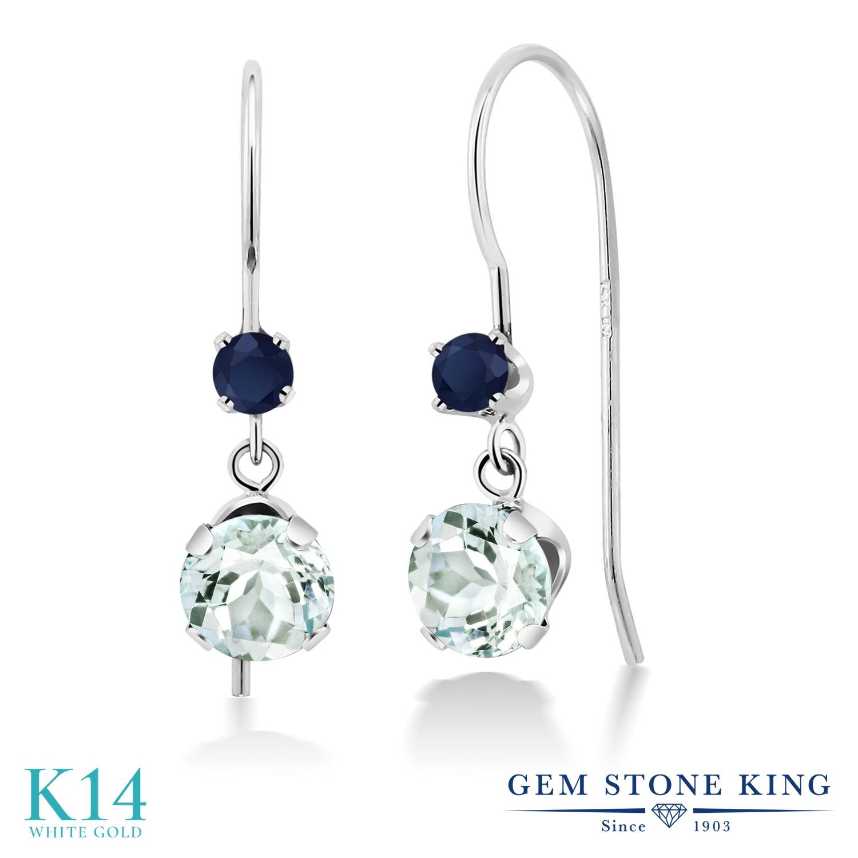 Gem Stone King 1.1カラット 天然 アクアマリン 天然 サファイア 14金 ホワイトゴールド(K14) ピアス レディース 小粒 ぶら下がり アメリカン 揺れる 天然石 3月 誕生石 金属アレルギー対応 誕生日プレゼント