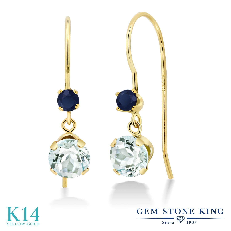 Gem Stone King 1.1カラット 天然 アクアマリン 天然 サファイア 14金 イエローゴールド(K14) ピアス レディース 小粒 ぶら下がり アメリカン 揺れる 天然石 3月 誕生石 金属アレルギー対応 誕生日プレゼント