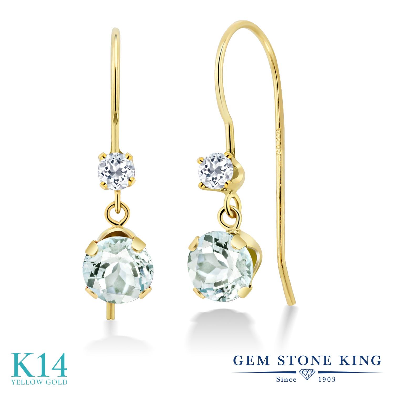 Gem Stone King 1.17カラット 天然 アクアマリン 天然 トパーズ (無色透明) 14金 イエローゴールド(K14) ピアス レディース 小粒 ぶら下がり アメリカン 揺れる 天然石 3月 誕生石 金属アレルギー対応 誕生日プレゼント