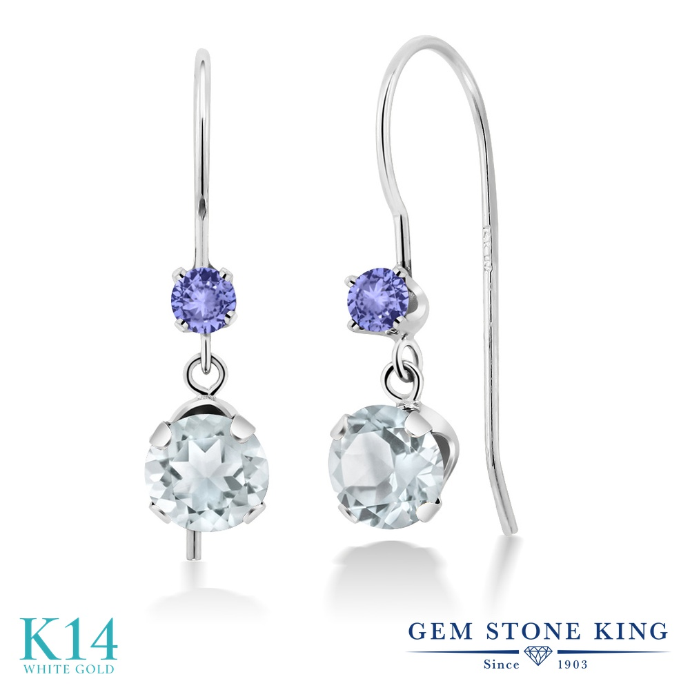 Gem Stone King 1.16カラット 天然 アクアマリン 天然石 タンザナイト 14金 ホワイトゴールド(K14) ピアス レディース 小粒 ぶら下がり アメリカン 揺れる 天然石 3月 誕生石 金属アレルギー対応 誕生日プレゼント
