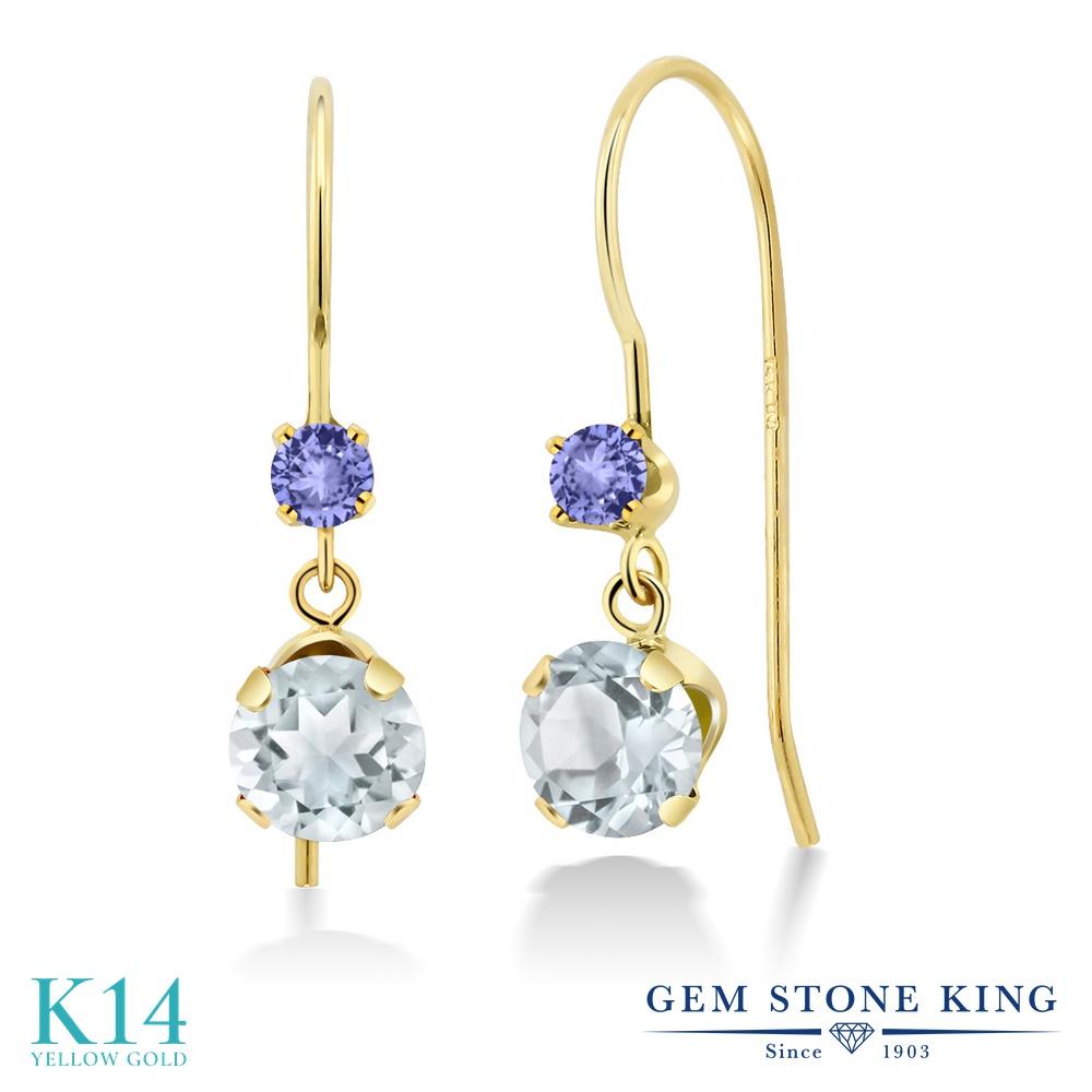 Gem Stone King 1.16カラット 天然 アクアマリン 天然石 タンザナイト 14金 イエローゴールド(K14) ピアス レディース 小粒 ぶら下がり アメリカン 揺れる 天然石 3月 誕生石 金属アレルギー対応 誕生日プレゼント