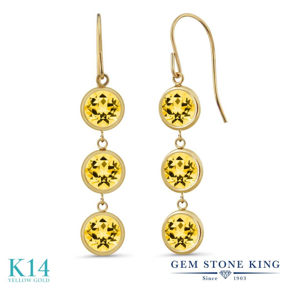 Gem Stone King 3.9カラット 天然石トパーズ ハニースワロフスキー 14金 イエローゴールド(K14) ピアス レディース ぶら下がり アメリカン フック 天然石 金属アレルギー対応 誕生日プレゼント
