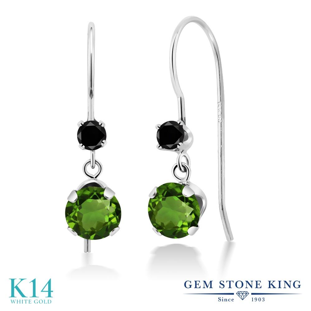 Gem Stone King 1.13カラット 天然 クロムダイオプサイド 天然ブラックダイヤモンド 14金 ホワイトゴールド(K14) ピアス レディース 小粒 ぶら下がり アメリカン 揺れる 天然石 金属アレルギー対応 誕生日プレゼント