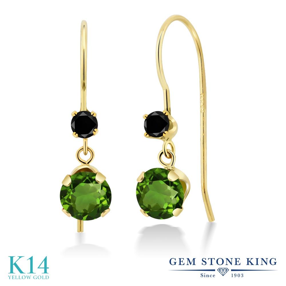 Gem Stone King 1.13カラット 天然 クロムダイオプサイド 天然ブラックダイヤモンド 14金 イエローゴールド(K14) ピアス レディース 小粒 ぶら下がり アメリカン 揺れる 天然石 金属アレルギー対応 誕生日プレゼント