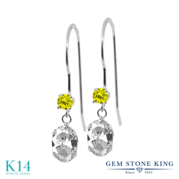 Gem Stone King 1.23カラット 天然 トパーズ (無色透明) 天然 イエローダイヤモンド 14金 ホワイトゴールド(K14) ピアス レディース ぶら下がり アメリカン 揺れる 天然石 11月 誕生石 金属アレルギー対応 誕生日プレゼント