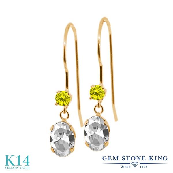 Gem Stone King 1.23カラット 天然 トパーズ (無色透明) 天然 イエローダイヤモンド 14金 イエローゴールド(K14) ピアス レディース ぶら下がり アメリカン 揺れる 天然石 11月 誕生石 金属アレルギー対応 誕生日プレゼント
