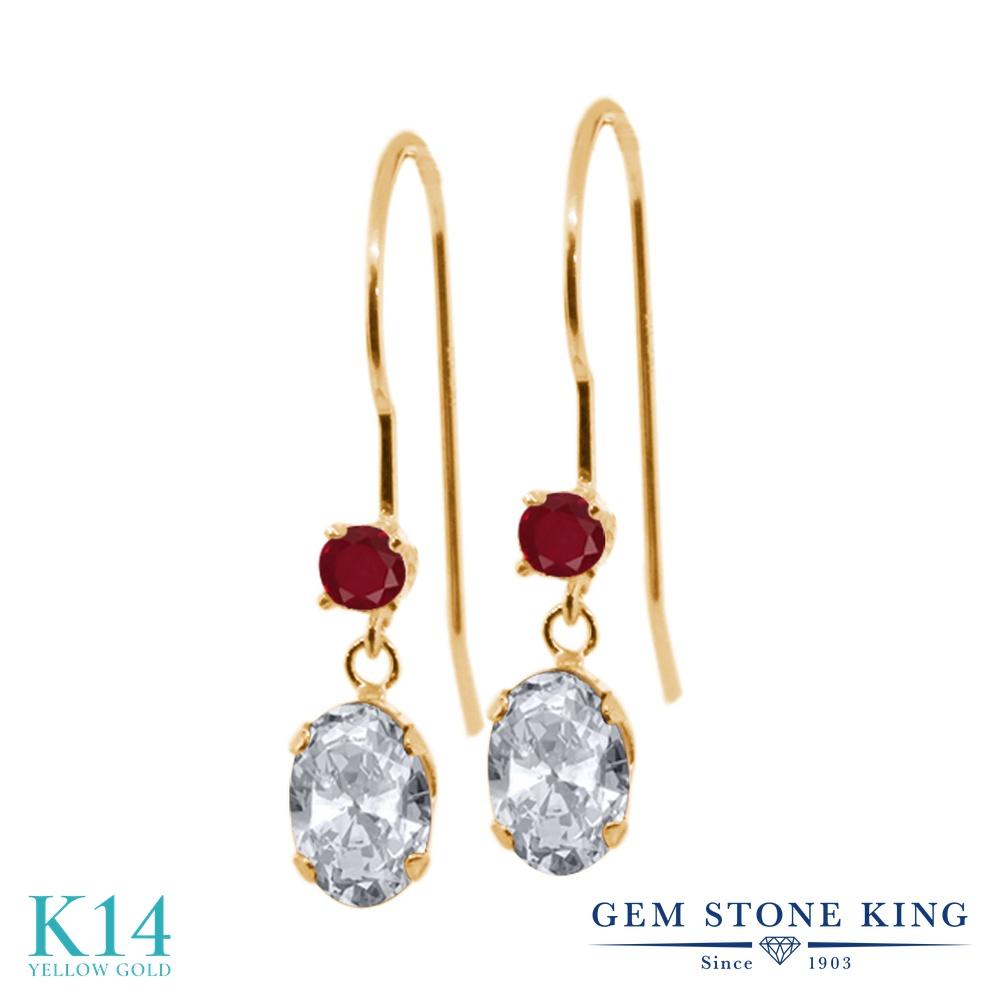 Gem Stone King 1.34カラット 天然 トパーズ (無色透明) 天然 ルビー 14金 イエローゴールド(K14) ピアス レディース ぶら下がり アメリカン 揺れる 天然石 11月 誕生石 金属アレルギー対応 誕生日プレゼント