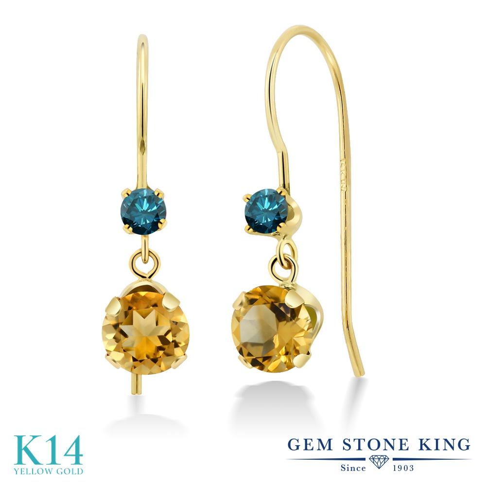Gem Stone King 1.58カラット 天然 シトリン 天然 ブルーダイヤモンド 14金 イエローゴールド(K14) ピアス レディース ぶら下がり アメリカン 揺れる 天然石 11月 誕生石 金属アレルギー対応 誕生日プレゼント