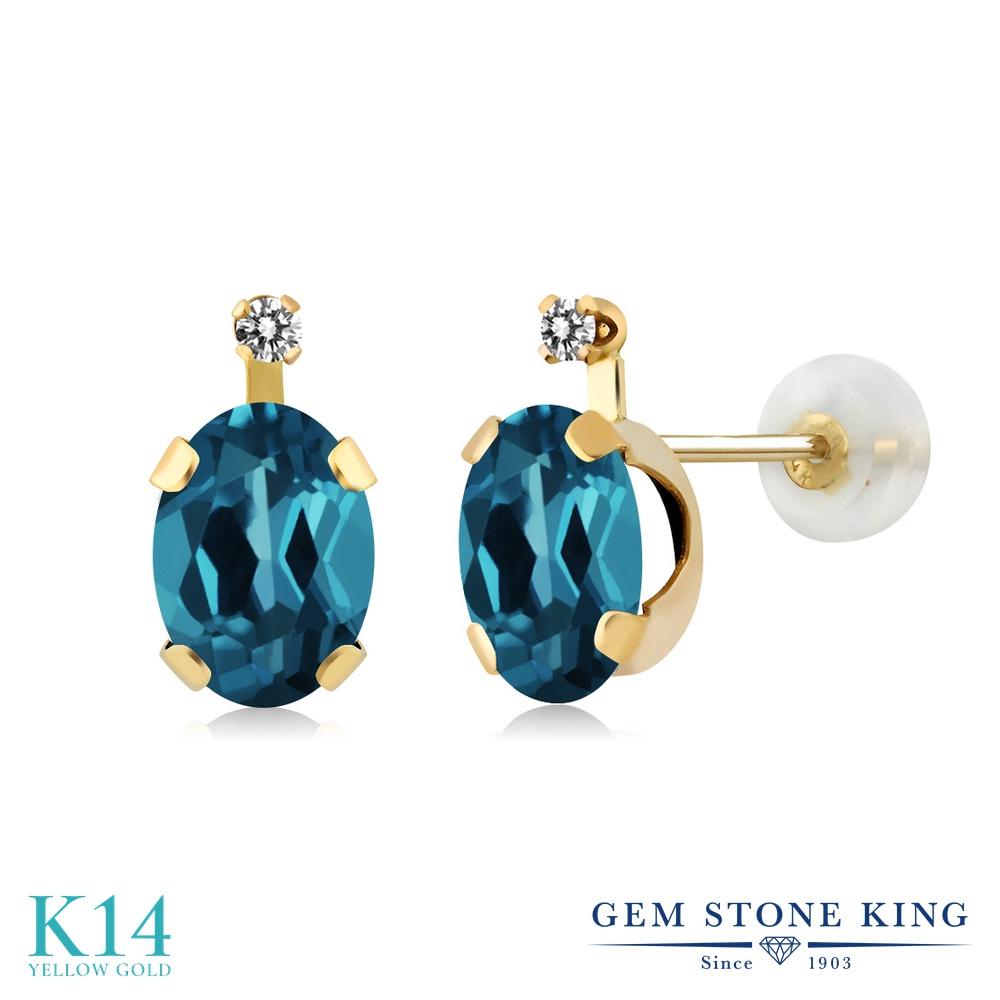 Gem Stone King 1.81カラット 天然 ロンドンブルートパーズ 天然 ダイヤモンド 14金 イエローゴールド(K14) ピアス レディース スタッド 天然石 11月 誕生石 金属アレルギー対応 誕生日プレゼント