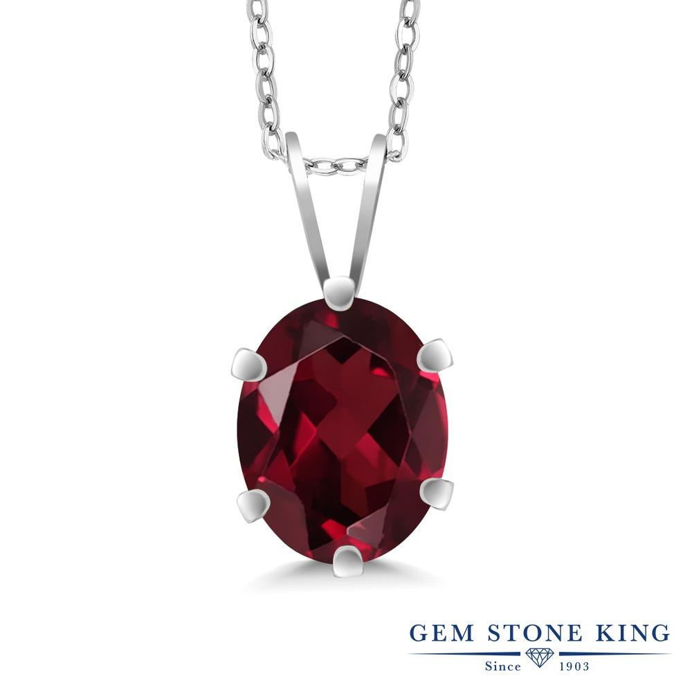 Gem Stone King 2.2カラット 天然ロードライトガーネット シルバー925(純銀) ネックレス ペンダント レディース 大粒 一粒 シンプル 天然石 誕生日プレゼント