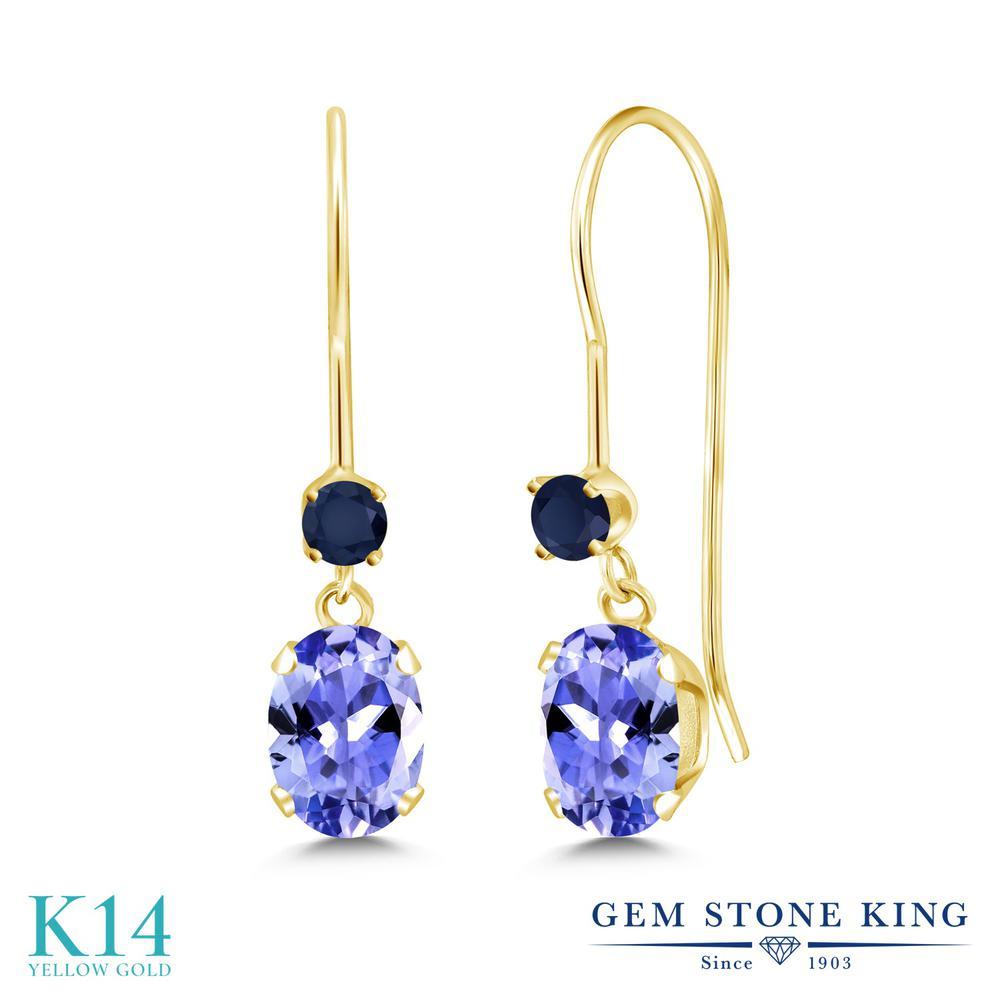 Gem Stone King 1.06カラット 天然石 タンザナイト 天然 サファイア 14金 イエローゴールド(K14) ピアス レディース 小粒 ぶら下がり アメリカン 揺れる 天然石 12月 誕生石 金属アレルギー対応 誕生日プレゼント