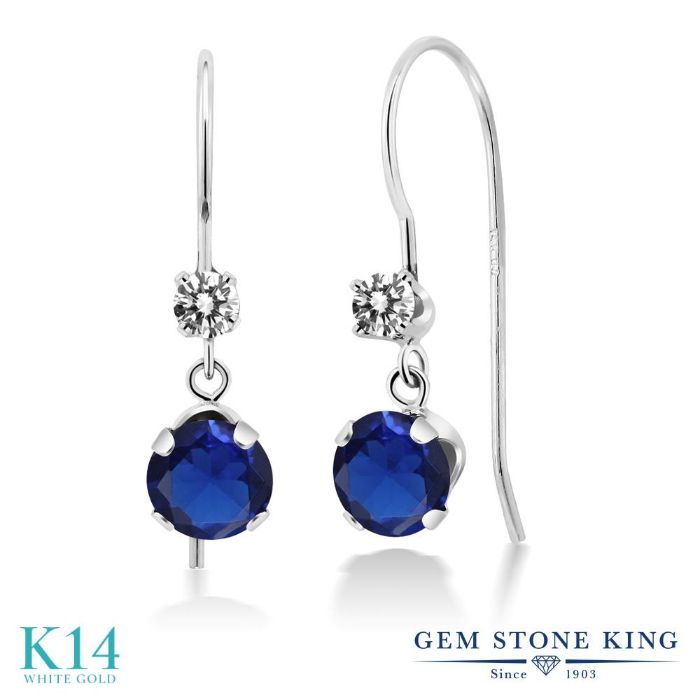 Gem Stone King 1.33カラット シミュレイテッド サファイア 天然 ダイヤモンド 14金 ホワイトゴールド(K14) ピアス レディース ぶら下がり アメリカン 揺れる 金属アレルギー対応 誕生日プレゼント