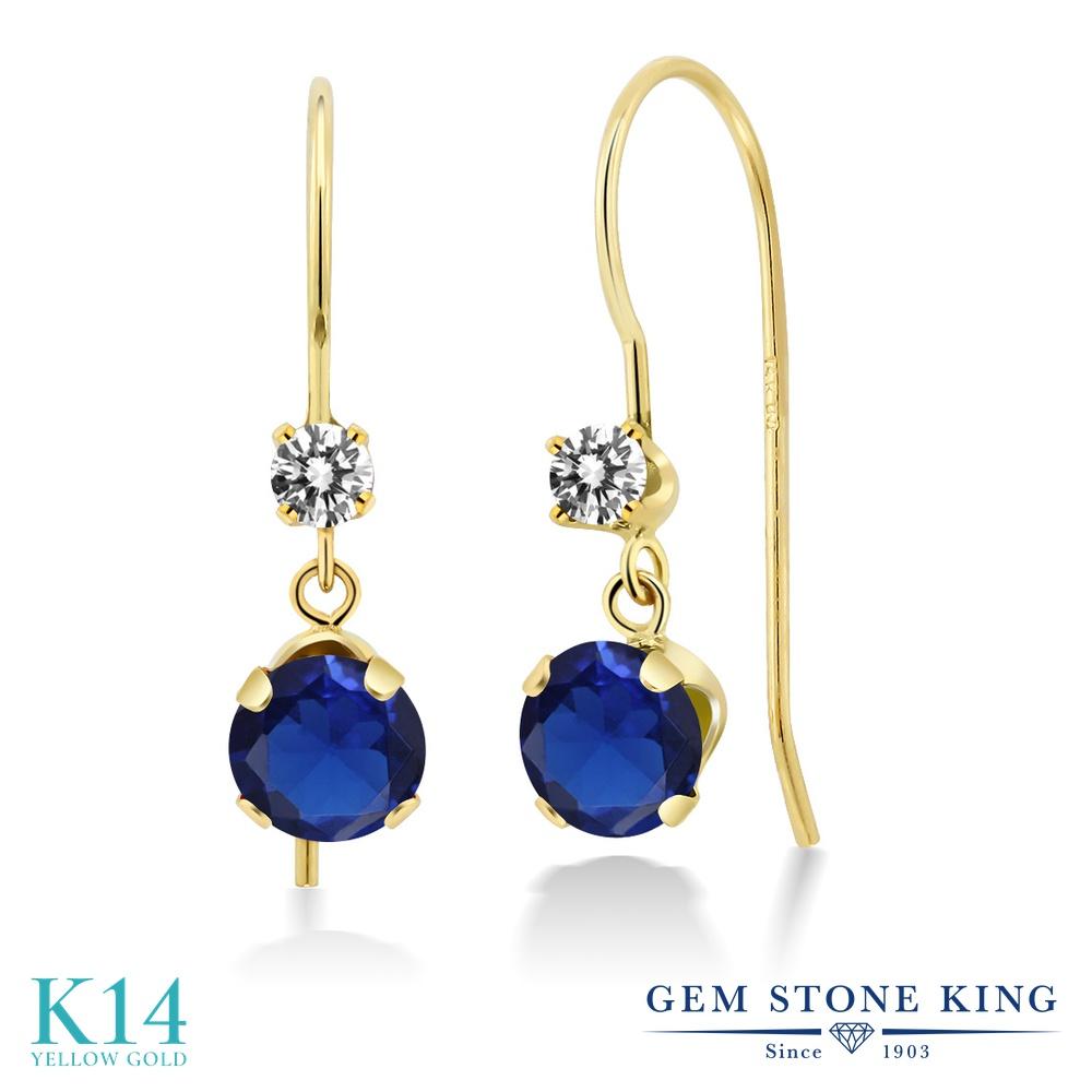 Gem Stone King 1.33カラット シミュレイテッド サファイア 天然 ダイヤモンド 14金 イエローゴールド(K14) ピアス レディース ぶら下がり アメリカン 揺れる 金属アレルギー対応 誕生日プレゼント