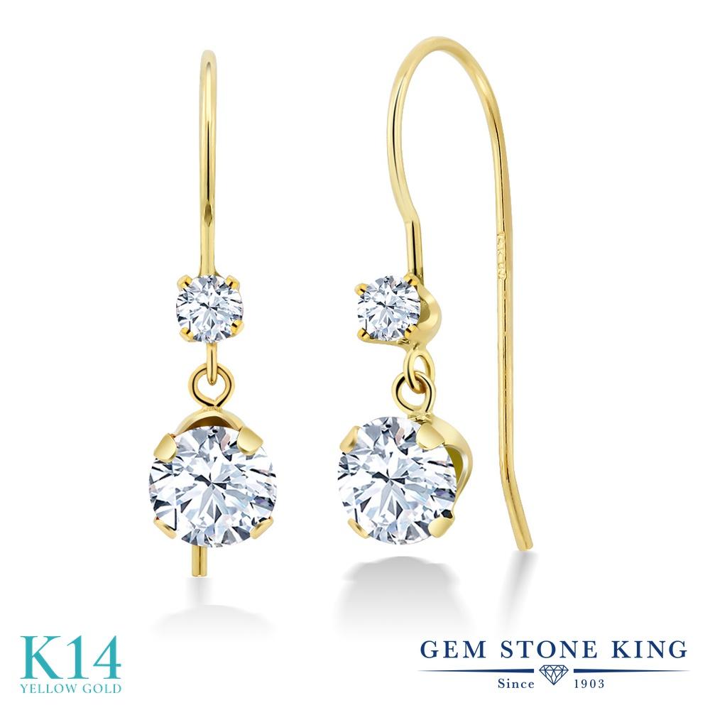 Gem Stone King 1.6カラット ジルコニア (無色透明) 14金 イエローゴールド(K14) ピアス レディース CZ ぶら下がり アメリカン 揺れる 金属アレルギー対応 誕生日プレゼント